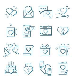 Set of love and affection icons with outline style