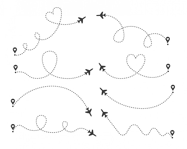 Set of love airplane routes. air plane flight route with start point and dash line trace. romantic travel, heart dashed path isolated on transparent background. illustration.