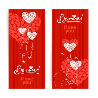 Set of love background with abstract hearts and birds. valentine's day and wedding cards