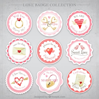 Set of love badges with different objects