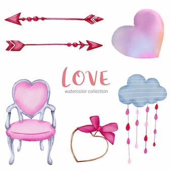 Set of love callection, isolated watercolor valentine concept element lovely romantic red-pink hearts for decoration, illustration.