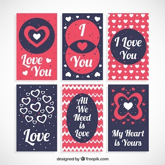 Set of love cards with phrases