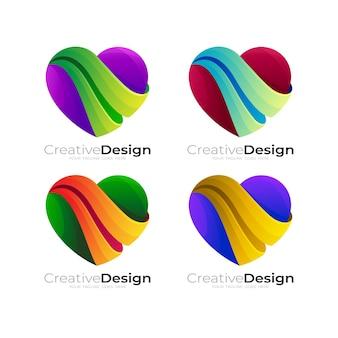 愛のケアのロゴデザインソーシャル、チャリティーロゴテンプレートを設定します