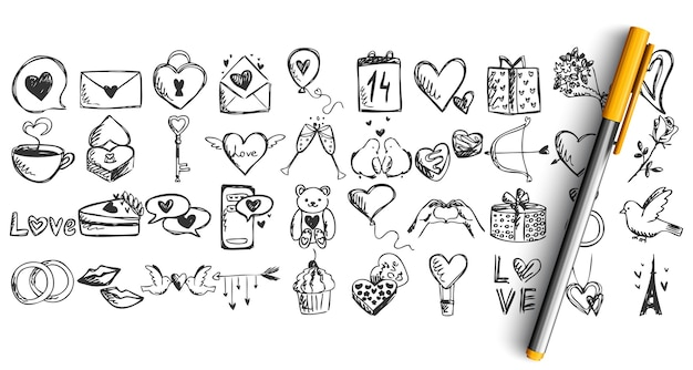 Set of love doodle isolated on white