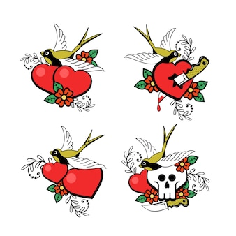 A set of love emblems.