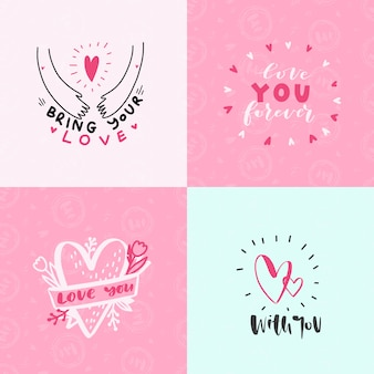 Set of the love expressions cards