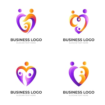 Set love family logo, people and love, combination logo with 3d colorful style