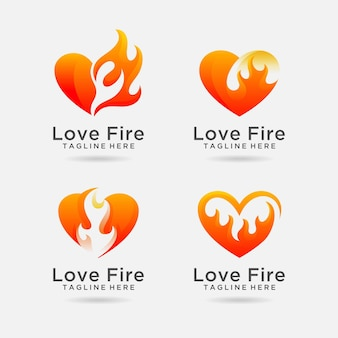 Set of love fire logo design