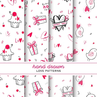 Set of love hand drawn doodle pattern.