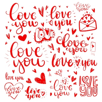 Set of love hand drawn quotes in love
