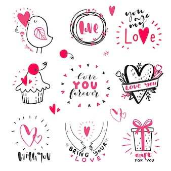 Set of love hand drawn quotes with doodle in vector. love messages. hand lettering