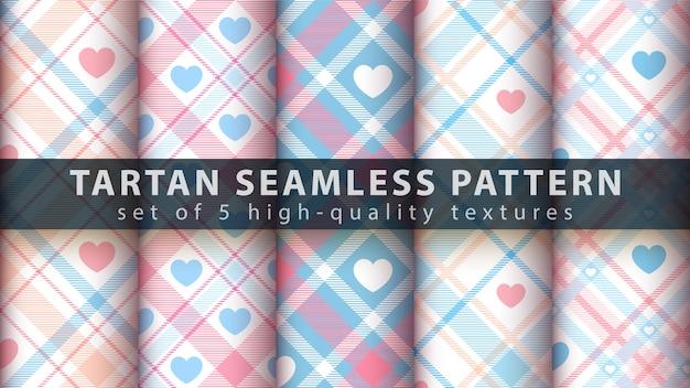 Set love heart tartan seamless pattern