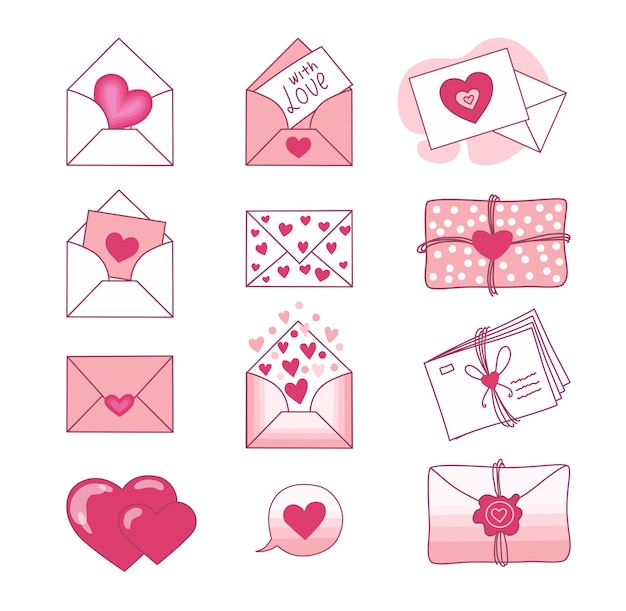 Set of love letters and valentines on a white background. valentine's day. .