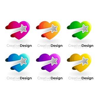 愛のロゴと星のデザインの組み合わせ、チャリティーのロゴを設定します