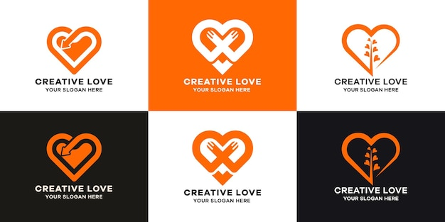 Set of love logo collection with line art style
