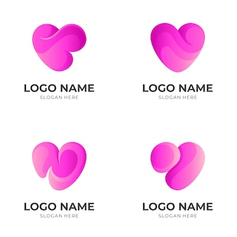 Set love logo design with 3d pink color style