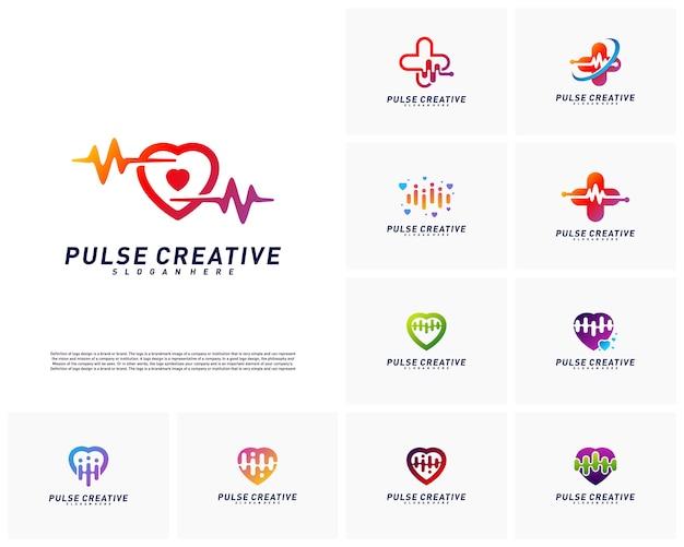Set of love medical pulse logo design concept