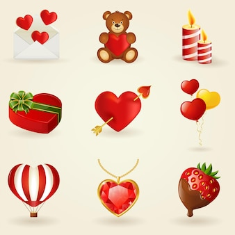 Set of love and romantic icons. collection of design elements.