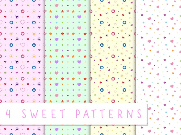 Set of love seamless pattern with colorful heart and star