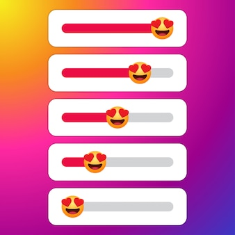 Set of love slider with emoticon for social media.