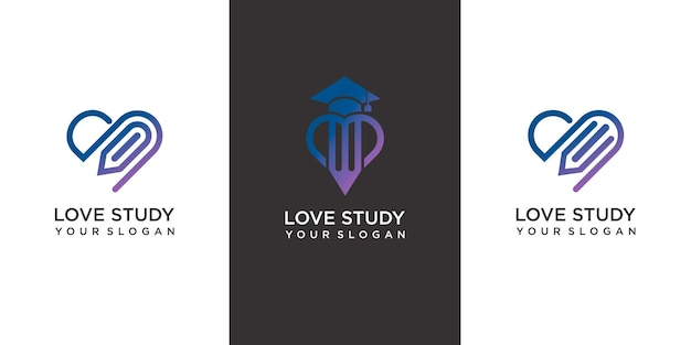 Set of love study logo template with modern concept premium vector