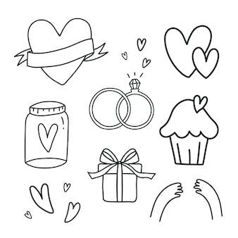 Set of love symbols vector