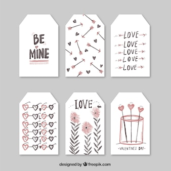 Set of love watercolor tags