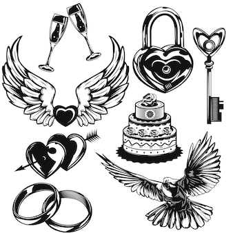 Set of love and wedding elements