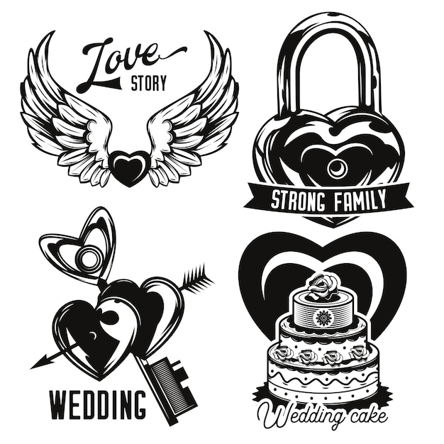 Set of love and wedding emblems