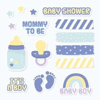Set of lovely baby shower scrapbook elements
