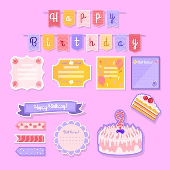 Set of lovely birthday scrapbook elements