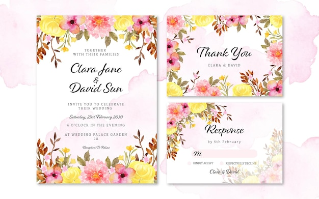 Set of lovely colorful rustic flower wedding invitation with abstract stain