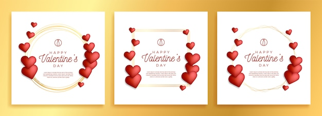Set of lovely gold outline frame or border with hearts for valentine day stock