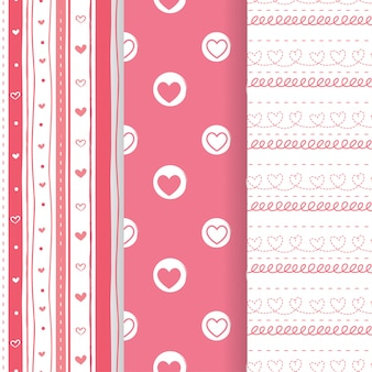 Set of lovely pink heart shapeseamless patterns