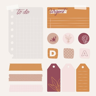 Set of lovely planner scrapbook elements