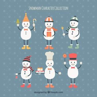 Set of lovely snowman with accessories
