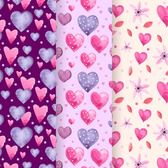 Set of lovely watercolor valentine's day pattern