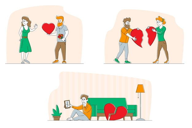 Set lovers in end of loving relations concept men and women with broken heart
