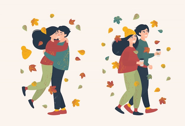 Set of loving couple on a walk on a autumn day