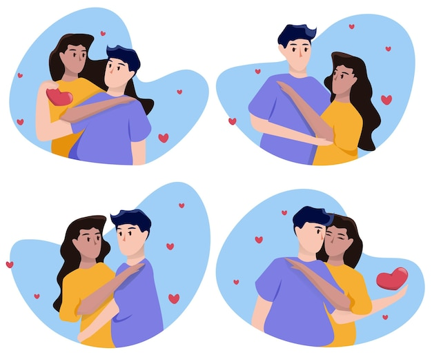 Set of loving couples for valentine's day in blue spots