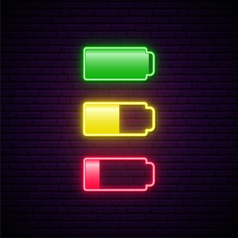 Set of low and full battery neon icon.