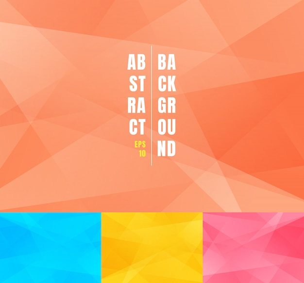 Set of low poly trendy abstract background