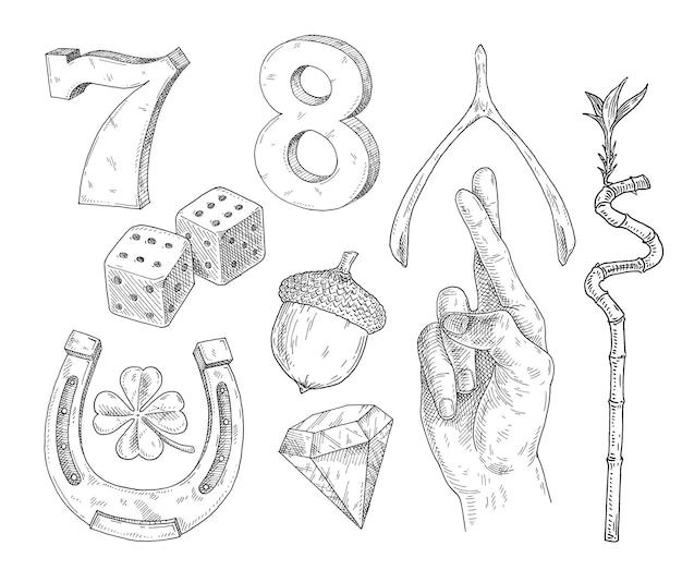 행운의 상징을 설정합니다. 말굽, 위시본, 도토리, 행운의 대나무, 여덟, 도토리, 주사위, 네 잎 클로버, 다이아몬드, 주사위, 일곱, 두 개의 교차 손가락. 빈티지 블랙 해칭 그림 흰색 절연
