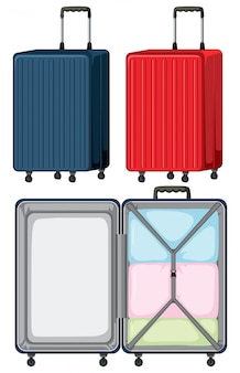 Set of luggage on white background