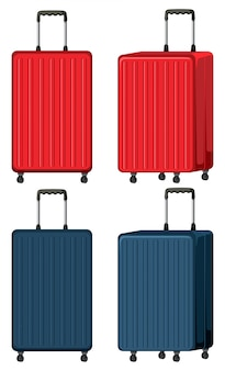 Set of luggage on white