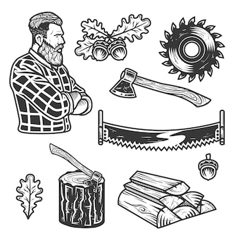 Set of lumberjack elements