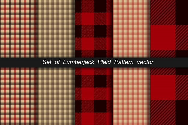 Set of lumberjack plaid pattern. lumberjack plaid and buffalo check patterns. lumberjack plaid tartan and gingham patterns.