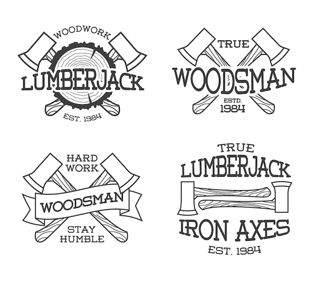 Set of lumberjack and woodsman labels