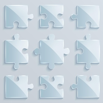 Set of luminous pieces of puzzles. business concept