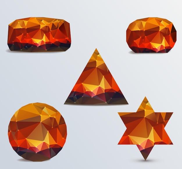 Set of luminous rubies on light background